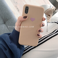 爱心软壳8plus苹果x手机壳XS Max/XR/iPhoneX/7p/6女iphone6s情侣 i6/6s 浅卡其紫