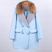 大衣女品牌折扣2017冬78106韩范时尚大毛领百搭宽松双排扣呢外套