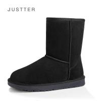 新款雪地靴女鞋冬季牛皮女靴中筒靴子加厚底雪地棉SN6633