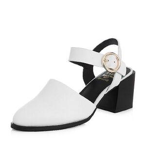 Tata/他她2018春专柜同款牛皮尖头一字带粗高跟女皮凉鞋2I815AH8