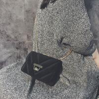 丝绒包包女2018新款潮韩版冬季单肩小包简约百搭斜挎包菱格链条包
