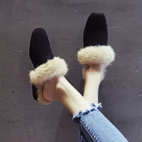 毛毛拖鞋女2018冬季新款外穿韩版百搭加绒鞋子粗跟半拖包头穆勒鞋 黑色 (加绒)毛毛拖鞋