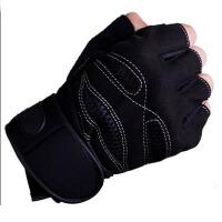 健身手套 男半指骑行手套单杠哑铃引体向上训练器械手套运动护具加长护腕手套 黑色一双装 M