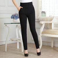 新款女士打底裤外穿中年妈妈女裤条纹中老年裤子春秋季40岁50