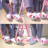 韩国秋冬日系粉嫩卡通胖小猪毛绒居家棉拖鞋可爱地板防滑棉拖鞋女