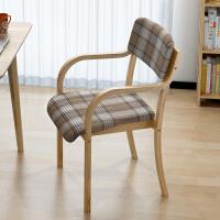 家用实木椅子现代简约休闲餐椅简易曲木北欧书桌椅电脑靠背扶手椅