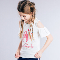 【3件3折:59.7元】暇步士童装女童夏季新款时尚露肩圆领衫