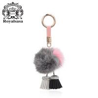 皇家莎莎狐狸毛球钥匙扣送女友车用毛绒挂饰女毛球钥匙链时尚包挂件