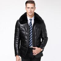 冬季海宁 羽绒服男中长款大毛领中老年绵羊皮衣爸爸装加厚外套