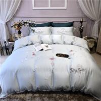 80支贡缎双面天丝四件套公主风1.8m双人床单被套裸睡床上用品 梦幻芭蕾-冰蓝色
