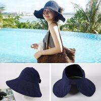 夏季遮阳帽女休闲百搭可折叠太阳帽春秋空顶帽