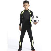 儿童足球训练服长袖套装男童足球服套装春秋小学生训练球服收腿裤 黑色 5523+982黑绿