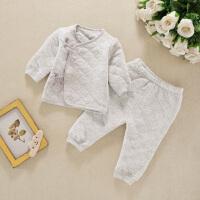 新生儿保暖内衣套装0-3个月初生婴儿衣服夹棉春秋冬季和尚服