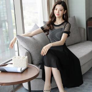 条纹雪纺连衣裙女夏2018新款气质减龄收腰显瘦中长款短袖韩版裙子