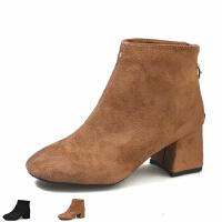 WARORWAR新品YM155-A11-1秋冬欧美粗跟高跟女士靴子短靴