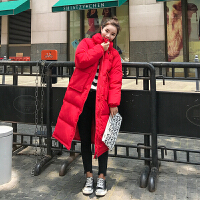 韩版宽松大码大红色结婚外套孕妇冬装羽绒面包服女棉衣中长款
