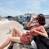 洋气高腰短裤套装女夏2018新款时尚潮 雪纺上衣女神范裤子两件套
