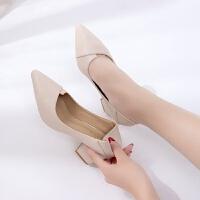 女士两穿高跟鞋粗跟2018新款春秋韩版百搭尖头小清新6cm中跟单鞋