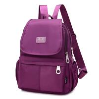 牛津布双肩包女包韩版帆布旅游小背包尼龙妈咪包胸包轻便学生书包 深紫色 款1(无拉链)
