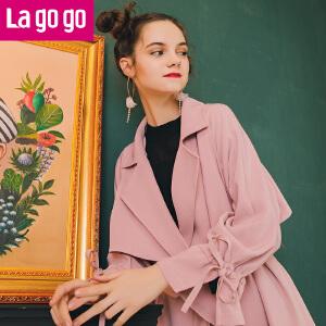 Lagogo预售2018年春季新款粉色韩版双排扣风衣外套女中长款开叉
