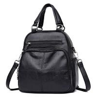 2018防水双肩包 新款多功能韩版时尚单肩斜挎包手提包旅行背包潮 黑色 拍下送手包+卡包