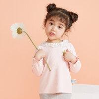 【全场2件2.5折,到手价:31.3】moomoo童装女童卫衣新款春秋装绣花领韩版小儿童宝宝针织套头衫