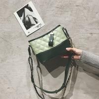 撞色包包女2018新款韩版百搭菱格链条包单肩斜挎包时尚女包水桶包