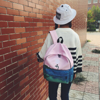 上新韩国书包女可爱小清新卡通动漫初高中学生双肩包简约学院背包 海豚