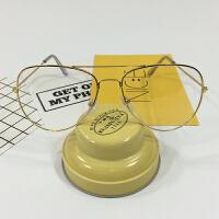 韩版大框瘦脸超轻百搭男女式金属装饰眼镜 李易峰宋茜同款平光镜 金框 (送镜袋)