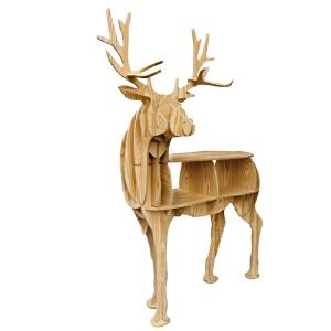 幸阁 环保木制北欧原素回头麋鹿边几书柜书桌 书架置物架亲子动物置物架玄关桌