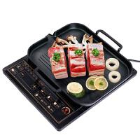 电磁炉烧烤盘 不锈钢家用不沾涂层通用铁板煎烧牛排烤肉盘易清洗受热均匀烤肉蔬菜板 烤盘+木锅铲 30*25cm