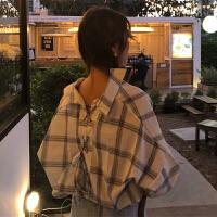 春夏韩版新款百搭后背小心机系带格子显瘦长袖衬衫上衣女装衬衣潮