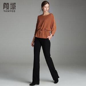 颜域秋装女2018新款品牌女装蝙蝠袖系带收腰蕾丝拼接九分袖针织衫