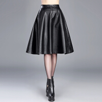 2018新款秋冬皮裙子女高腰半身裙中长款a字裙显瘦蓬蓬伞裙中裙