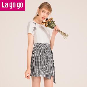 Lagogo2018夏季新款时尚港味圆领格子连衣裙女小清新假两件裙子HALL353C28