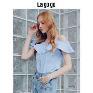 Lagogo2018夏季新款漏肩时尚上衣 条纹小清新绣花女一字领衬衫女HACC205A21