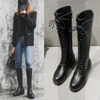 直筒靴女中筒不过膝厚底长筒马丁长靴女系带骑士靴高筒网红瘦瘦靴SN5152