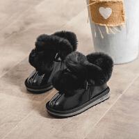 儿童雪地靴女2018冬季新款韩版潮女童靴子兔毛小女孩加厚保暖短靴