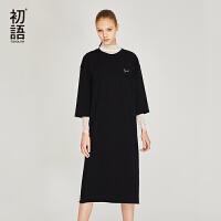 初语夏季新款 中袖H型裙子净色显瘦中长裙冷淡风连衣裙 极简