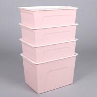 家居生活用品家用塑料收纳箱衣柜衣物整理箱子装内衣盒子零食储物箱手提有盖 组合装