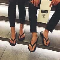 夏季新款男拖鞋韩版潮流防滑人字拖男学生夹脚沙滩休闲凉拖鞋 黑色