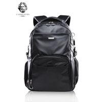 老人头韩版双肩包电脑包潮流男女背包休闲旅行包学生大容量书包男