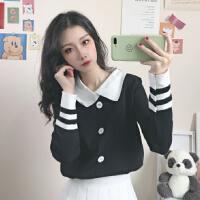 开衫毛衣外套女秋季2020新款韩版修身娃娃领长袖针织打底衫上衣潮