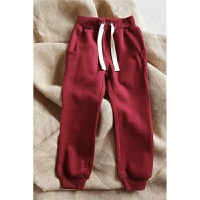 童装冬装新款松紧腰部 酒红色系罗纹收裤管绒休闲卫裤 童装