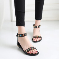 夏季真皮女童凉鞋新款学生公主平底平跟沙滩大码仙女鞋