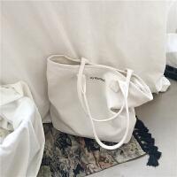 新款大容量极简风字母单肩帆布包简约手提女包纯色包大包
