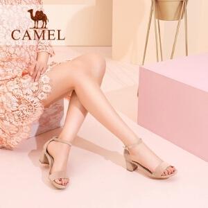 骆驼女鞋 2018夏季新款仙女凉鞋 方头复古凉鞋一字扣带粗跟高跟鞋