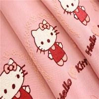 helloKitty猫公主风儿童房女孩卧室粉色成品窗帘温馨绣花定制