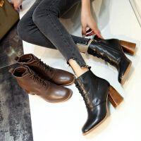 欧洲站女鞋秋冬系带马丁靴高跟方头粗跟短靴女及裸靴及踝靴子