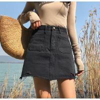 牛仔半身裙女学生夏季新款韩版高腰显瘦破洞下摆牛仔短裙A字裙潮